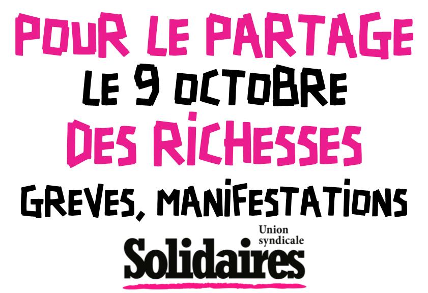 Tou.te.s dans la rue le 9 octobre, grève contre la politique antisociale du gouvernement