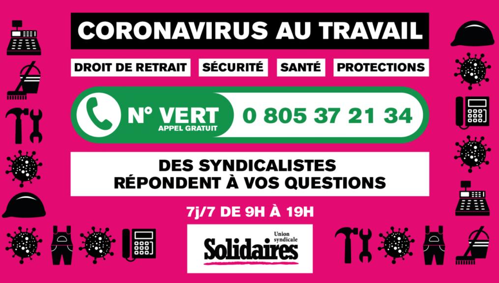 Solidaires met en place un numéro vert d'appui syndical et une FAQ !